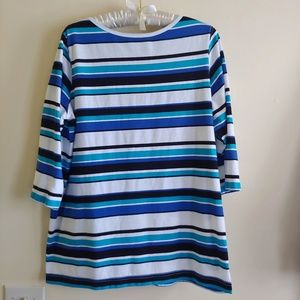 JACLYN SMITH Blue, White Striped Tee, 3/4 Sleeves